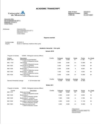 Academic Transcript French to English